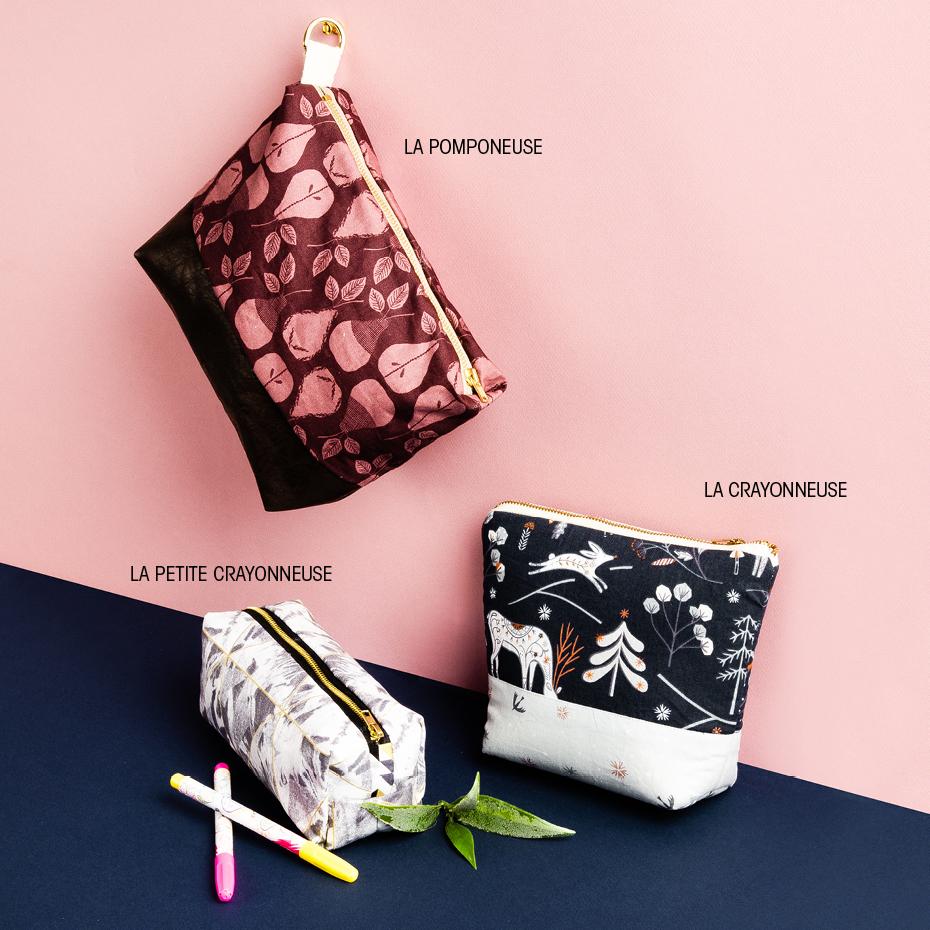 0f0c8bf20e Les pochettes - Patrons gratuits d'étui de crayon ou de trousse à  cosmétique | Club Tissus
