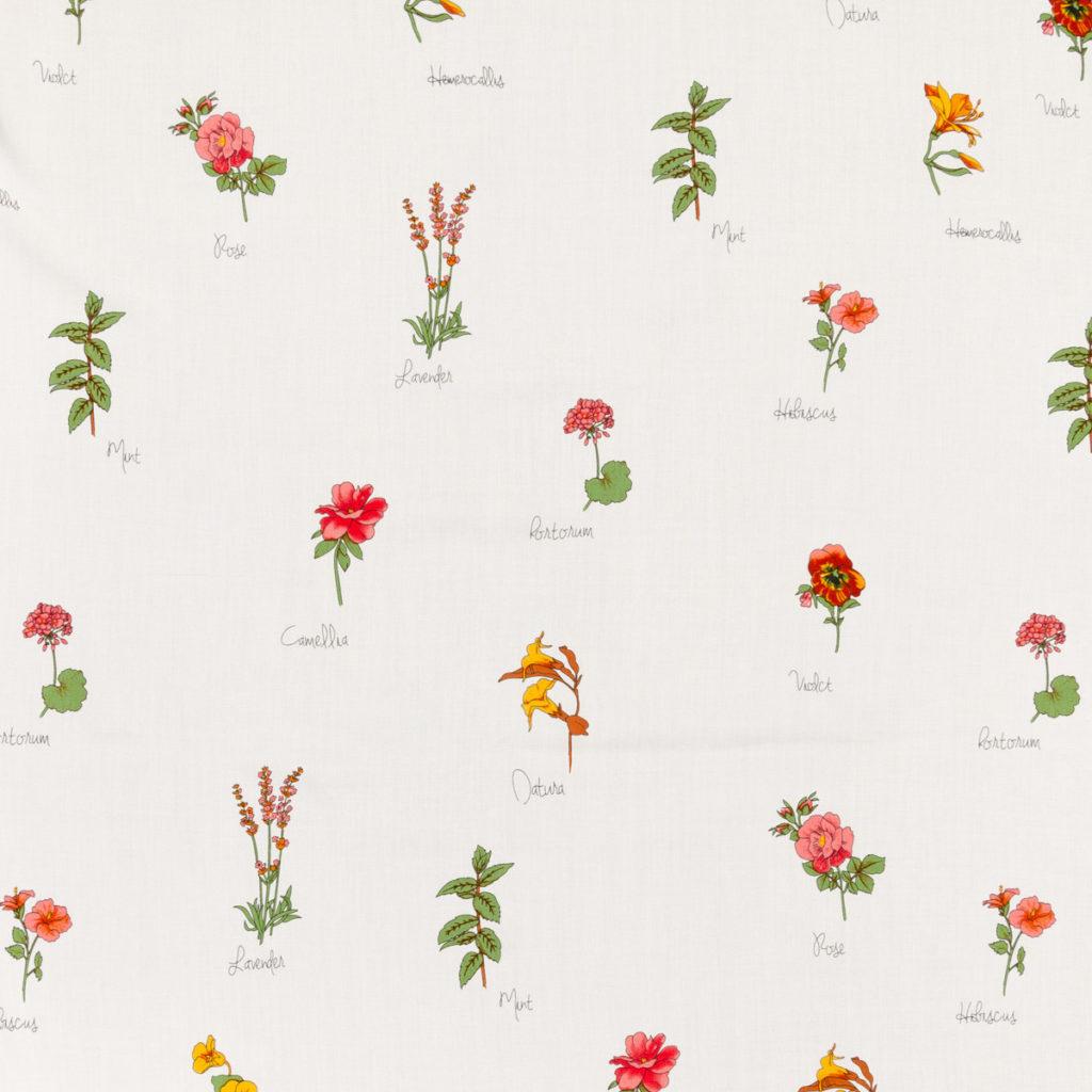 Popelin picasso imprimé fleurs ivoire