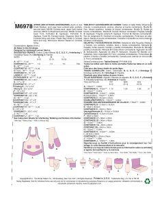 MCCALLS - M6978 ACCESSOIRES DE CUISINIÈRE - P À G