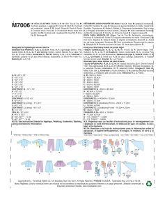 MCCALLS - M7006 VÊTEMENTS ET ACCESSOIRES - POUPÉE