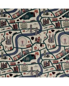 CANEVAS LONDON TOWN PAR SARA MULVANNY POUR COTTONSTEEL - LONDON FOREVER CLOUDY DAY