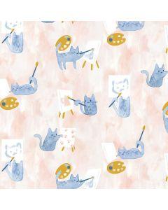 COTON CREATIVE CATS PAR CLARA JEAN POUR DEAR STELLA - PAINTING CLASS MULTI