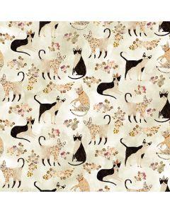 COTON MARCEL PAR CECILE METZGER POUR FIGO - CATS IVORY
