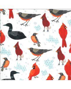 COTON LAKESIDE STORY PAR MARA PENNY POUR MODA - MIDWEST STATE BIRDS FOAM