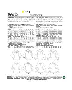 BUTTERICK - B6632  HAUTS TRÈS AMPLES POUR FEMMES - 14-22