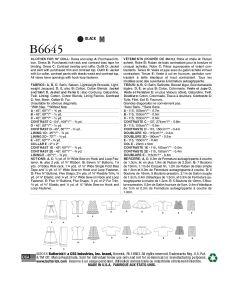 BUTTERICK - B6645  VÊTEMENTS DE POUPÉE - CRAFT