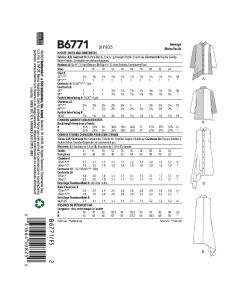 BUTTERICK - B6771 CHEMISE ET ROBE POUR FEMMES