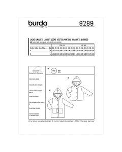 BURDA - 9289 MANTEAU ET VESTE POUR ENFANT