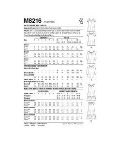 MCCALLS - M8216 ROBES POUR ENFANTS - 3-8