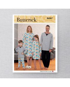 BUTTERICK - B6867 VÊTEMENTS DE NUIT UNISEXE - TP-TG